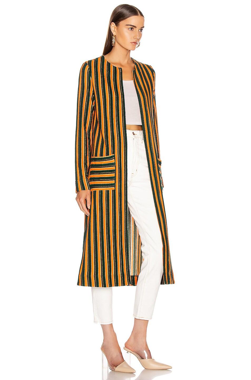 Image 3 of Staud Mia Robe in Pistachio & Cantaloupe Stripe