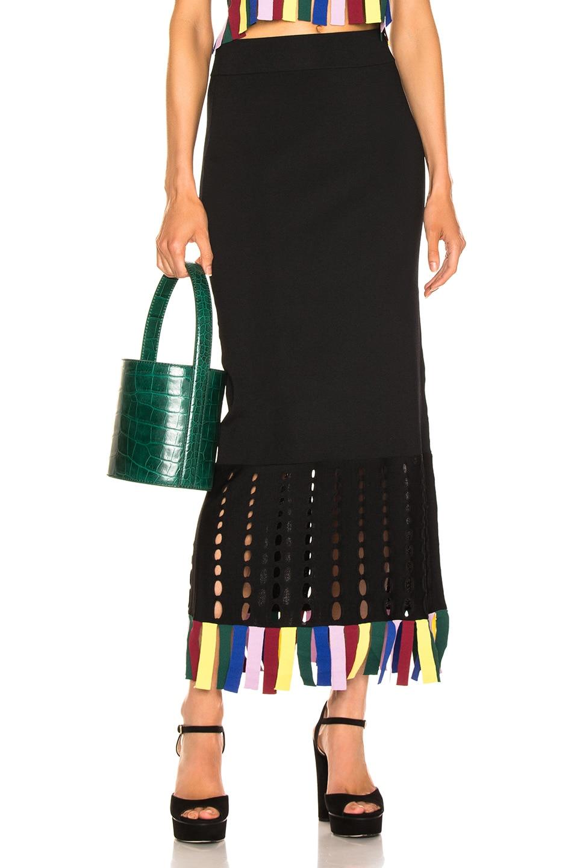 Image 1 of Staud Garage Skirt in Black & Rainbow