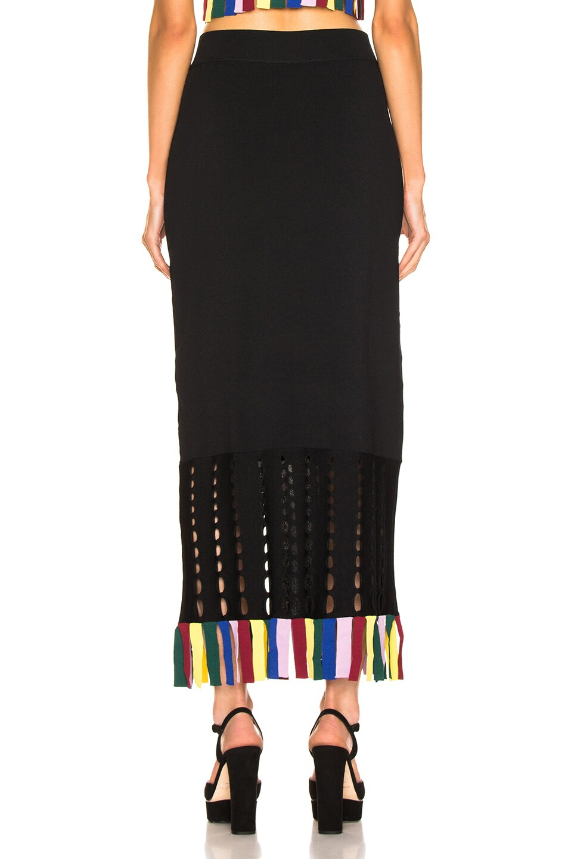 Image 3 of Staud Garage Skirt in Black & Rainbow
