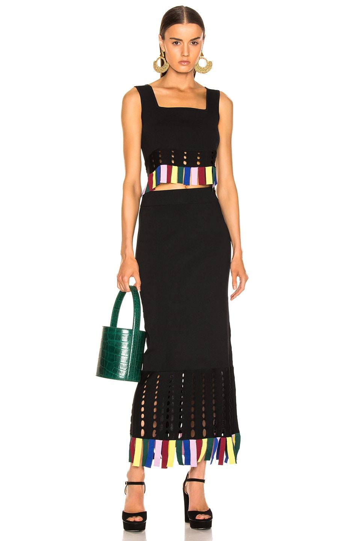 Image 4 of Staud Garage Skirt in Black & Rainbow