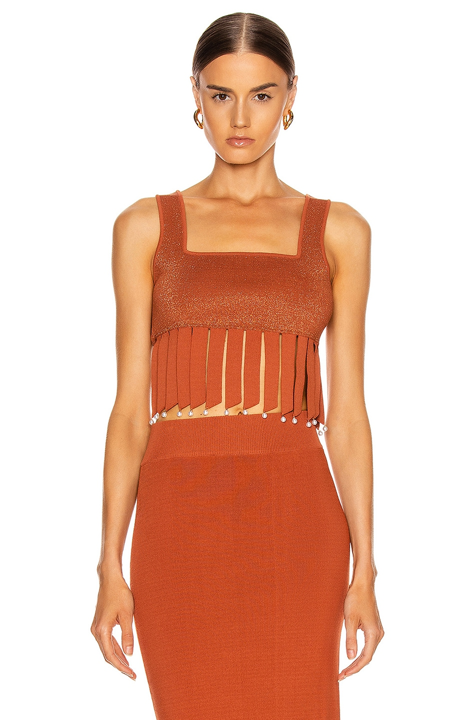 Image 1 of Staud Mossy Top in Rust