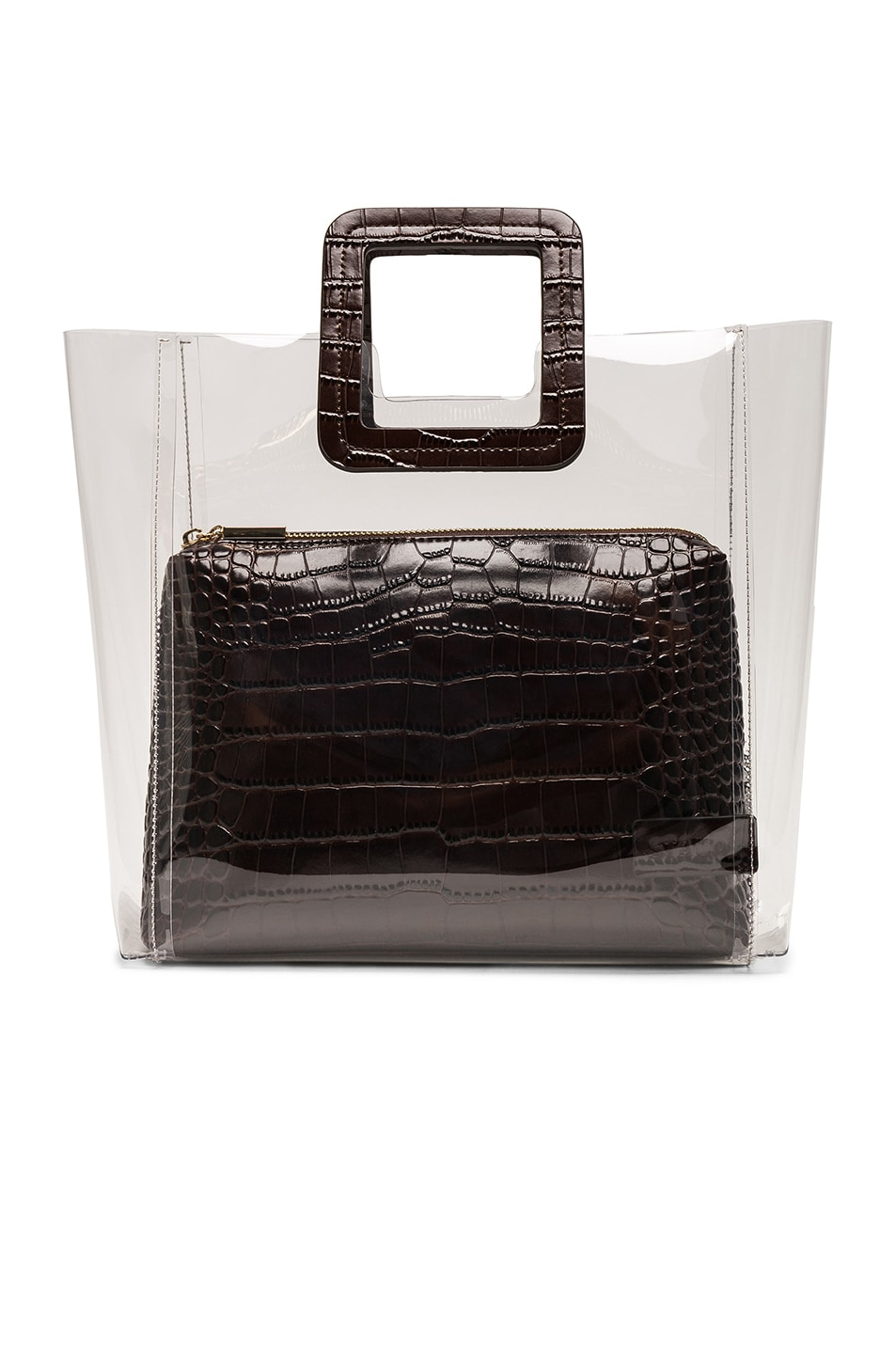 Image 1 of Staud Shirley Bag in Brown Faux Croc