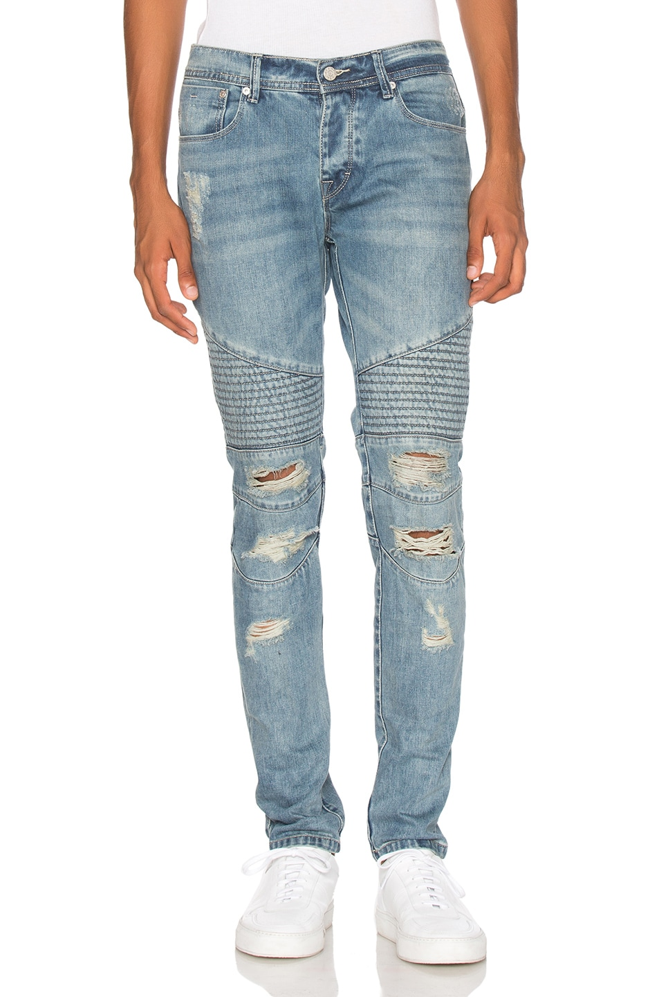 Image 1 of Stampd Distressed Moto Denim in Indigo