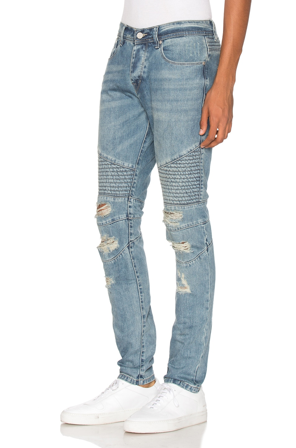 Image 2 of Stampd Distressed Moto Denim in Indigo