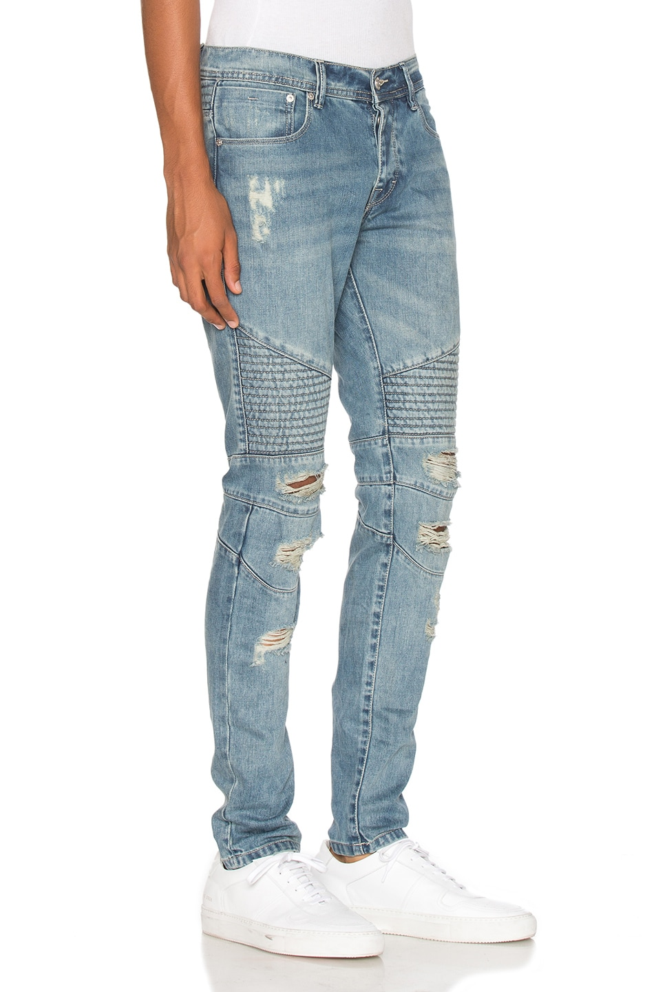 Image 3 of Stampd Distressed Moto Denim in Indigo