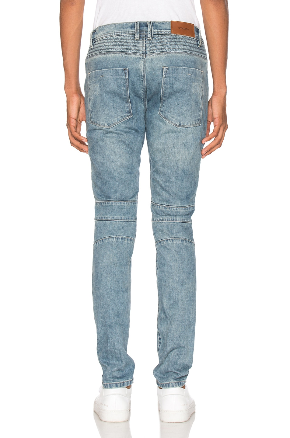 Image 4 of Stampd Distressed Moto Denim in Indigo