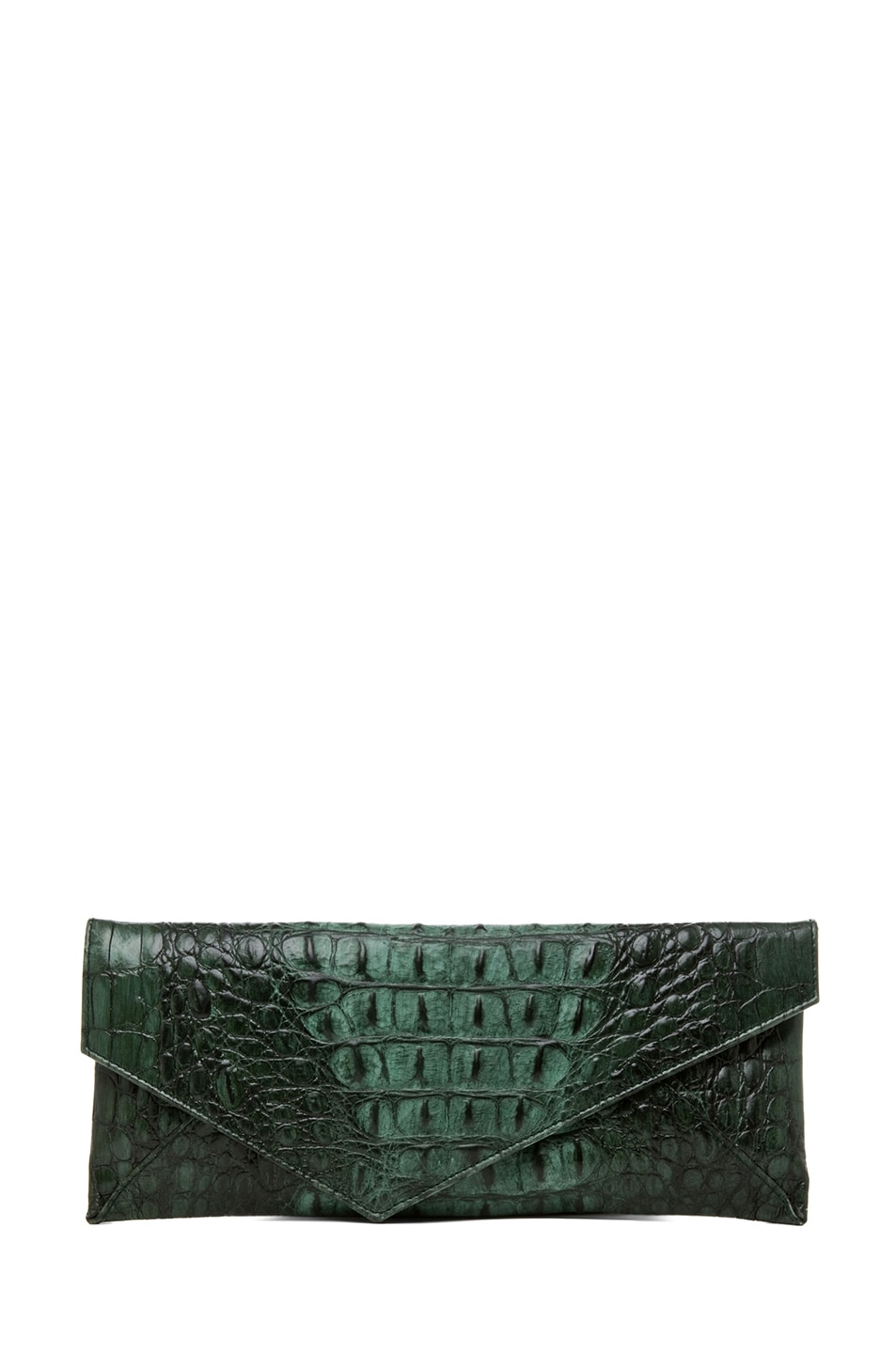 Image 1 of Stark Knotted Croc Clutch in Green