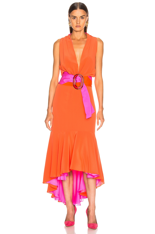 Image 1 of SILVIA TCHERASSI Frid Dress in Orange & Magenta