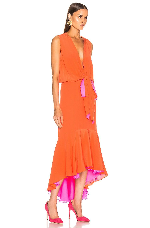 Image 3 of SILVIA TCHERASSI Frid Dress in Orange & Magenta