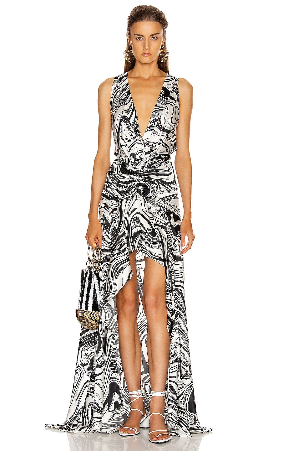Image 1 of SILVIA TCHERASSI Egle Dress in Black & White Marble