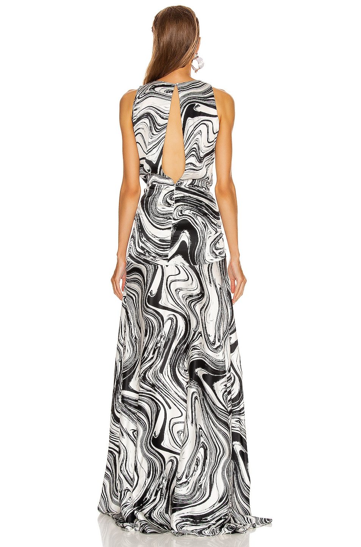 Image 3 of SILVIA TCHERASSI Egle Dress in Black & White Marble