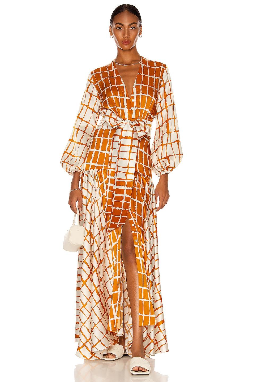 Image 1 of SILVIA TCHERASSI Connie Dress in Orange Abstract Stripe