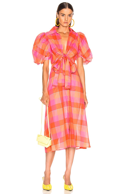Image 1 of SILVIA TCHERASSI Perth Dress in Orange Checkered
