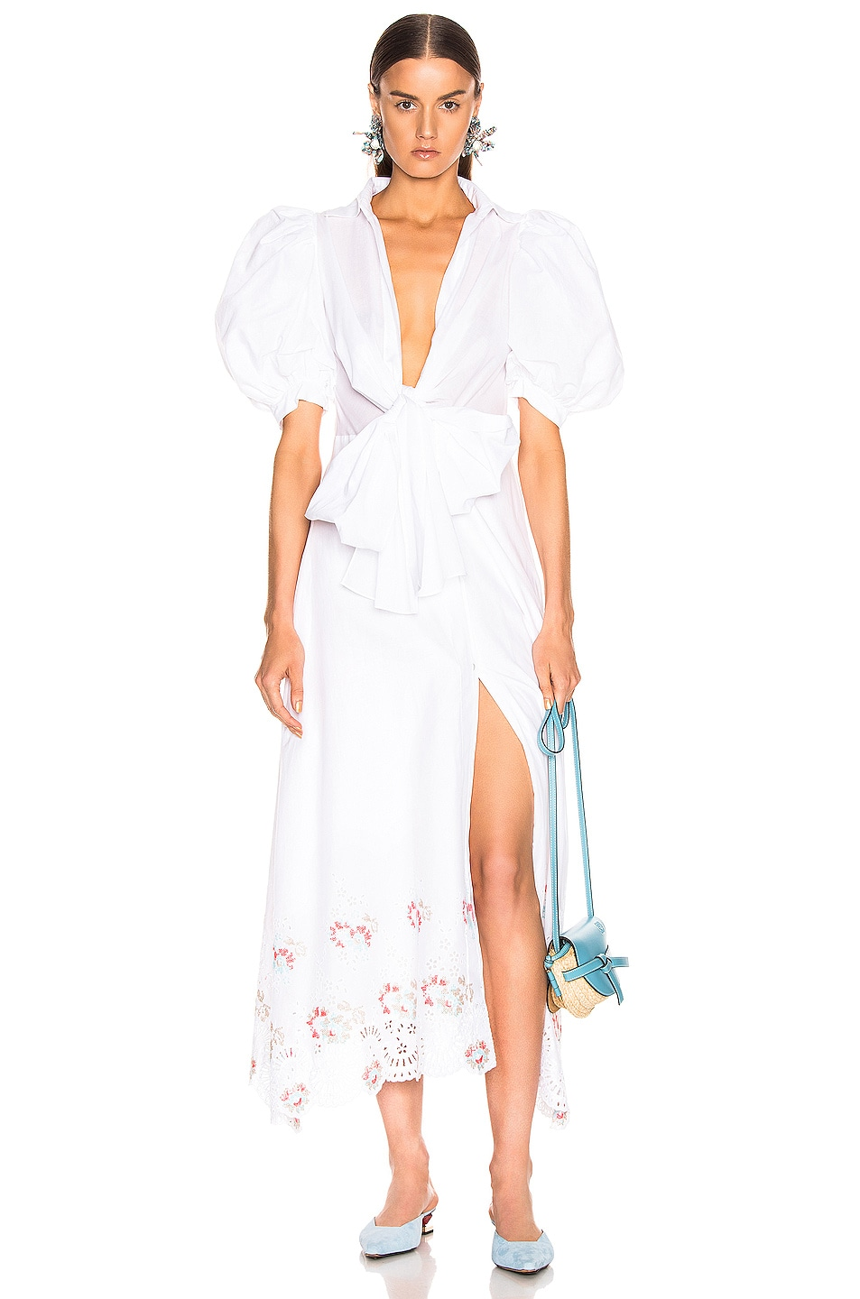 Image 1 of SILVIA TCHERASSI for FWRD Embroidered Assunta Dress in Floral White
