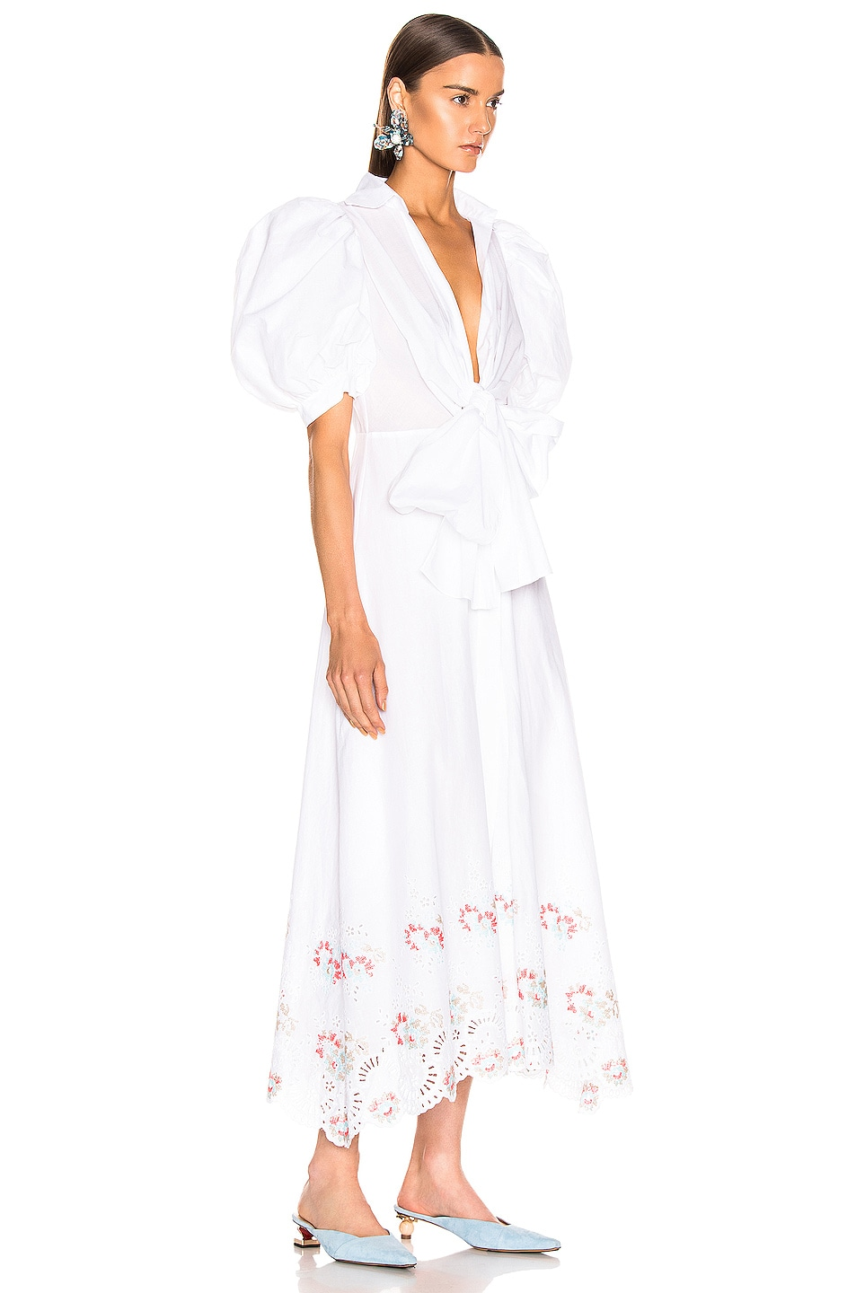 Image 2 of SILVIA TCHERASSI for FWRD Embroidered Assunta Dress in Floral White