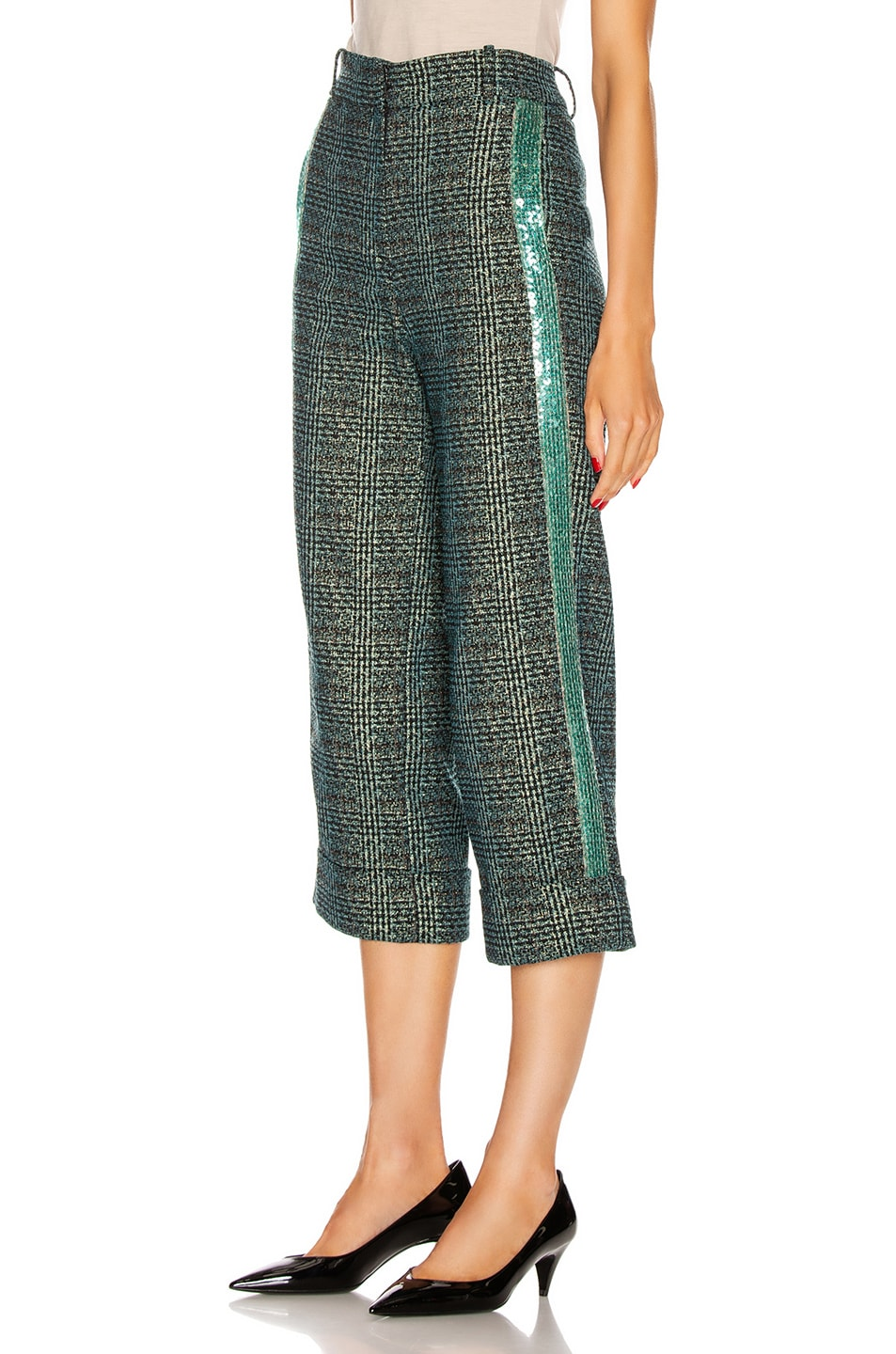 Image 1 of SILVIA TCHERASSI Dacil Pant in Sequin Teal Plaid