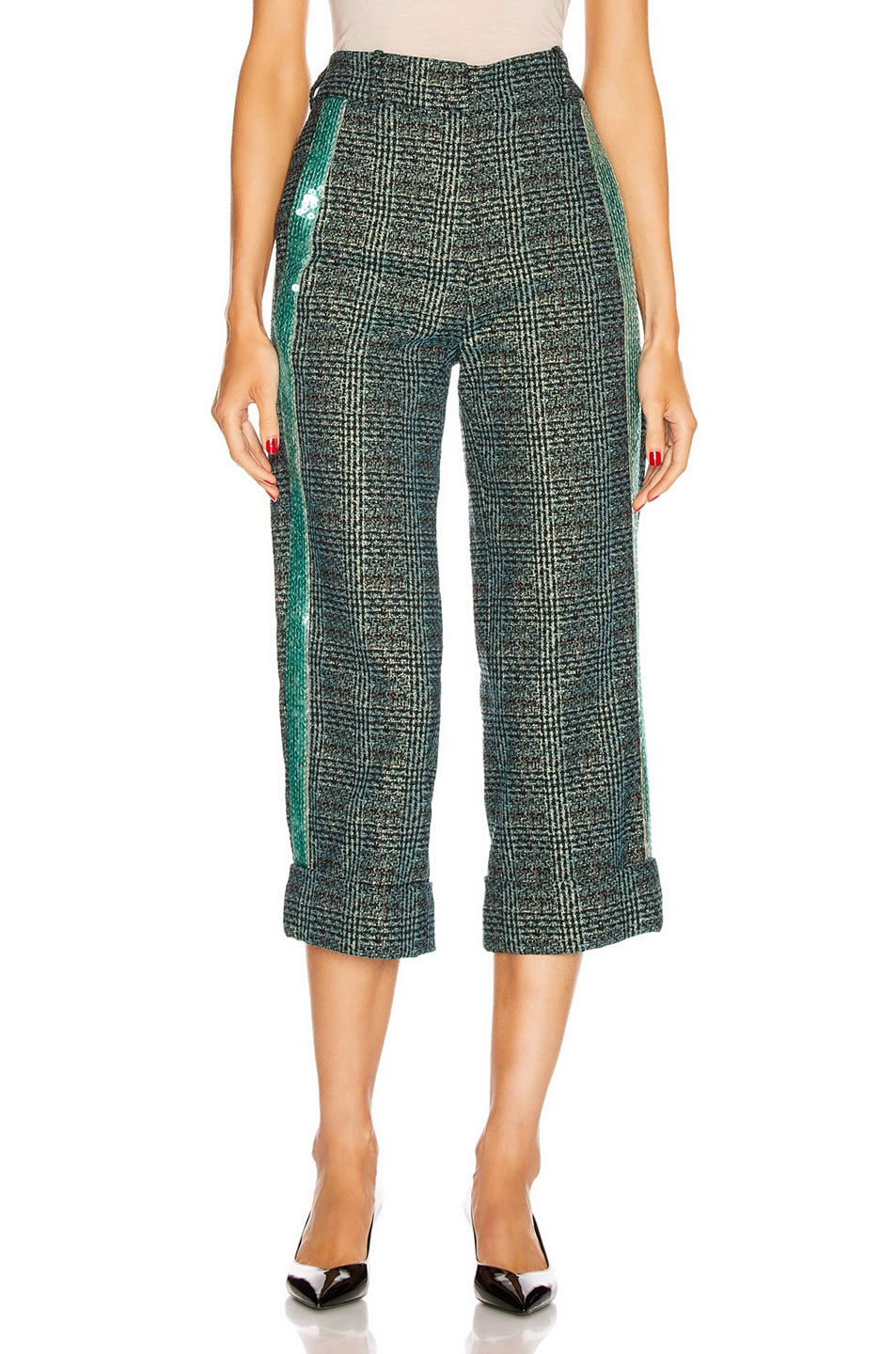 Image 2 of SILVIA TCHERASSI Dacil Pant in Sequin Teal Plaid