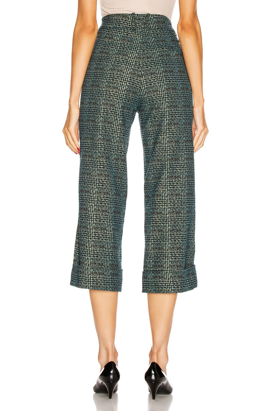 Image 4 of SILVIA TCHERASSI Dacil Pant in Sequin Teal Plaid