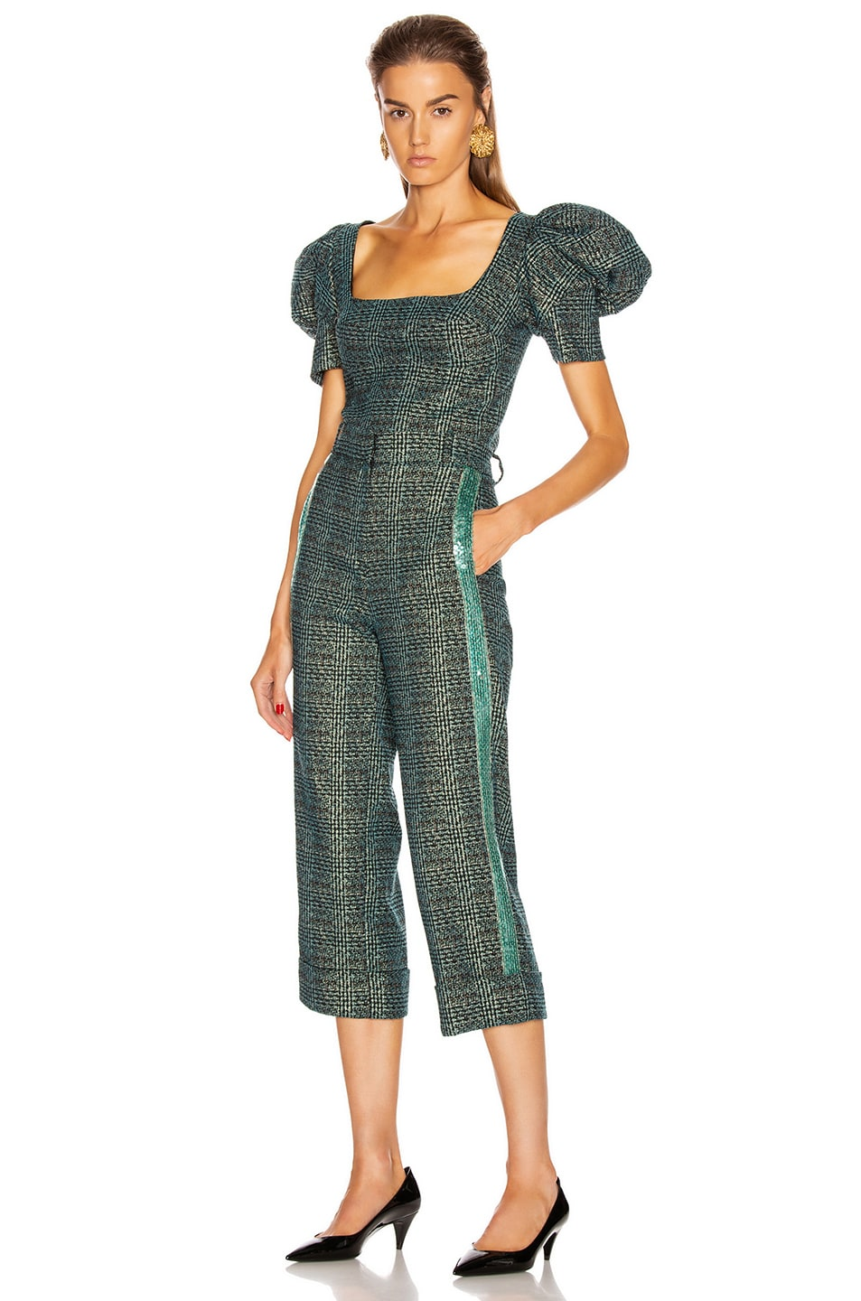 Image 5 of SILVIA TCHERASSI Dacil Pant in Sequin Teal Plaid