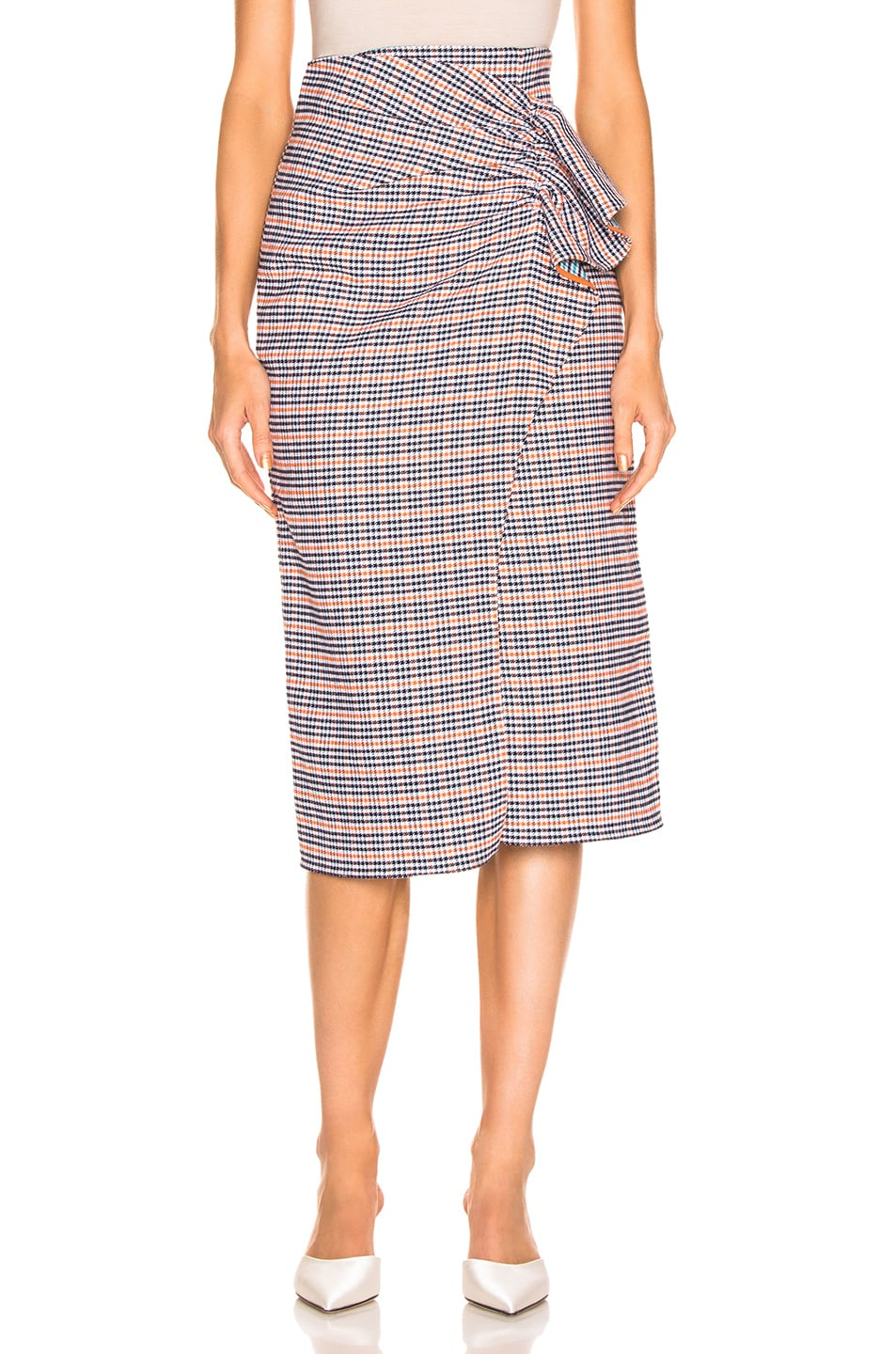 Image 1 of SILVIA TCHERASSI Guzmania Skirt in Checkered Orange