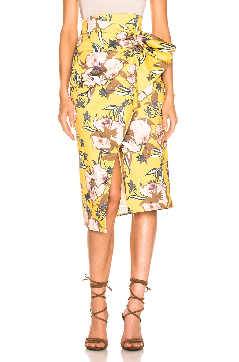 Image 1 of SILVIA TCHERASSI Guzmania Skirt in Botanical Yellow