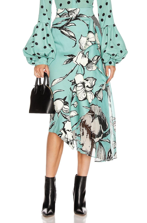 Image 1 of SILVIA TCHERASSI Aretha Skirt in Floral Aqua