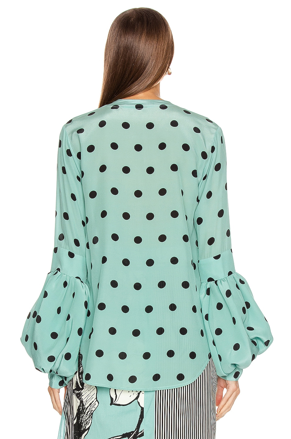 Image 4 of SILVIA TCHERASSI Barbara Blouse in Aqua Polka Dots