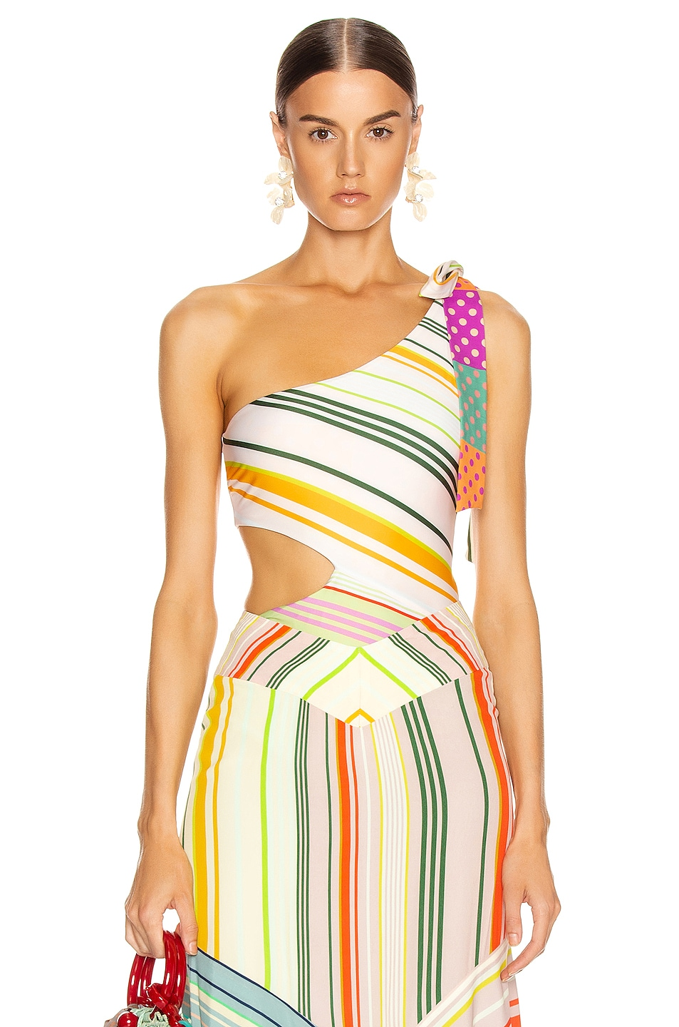 Image 1 of SILVIA TCHERASSI Calista Bodysuit in Summer Stripes