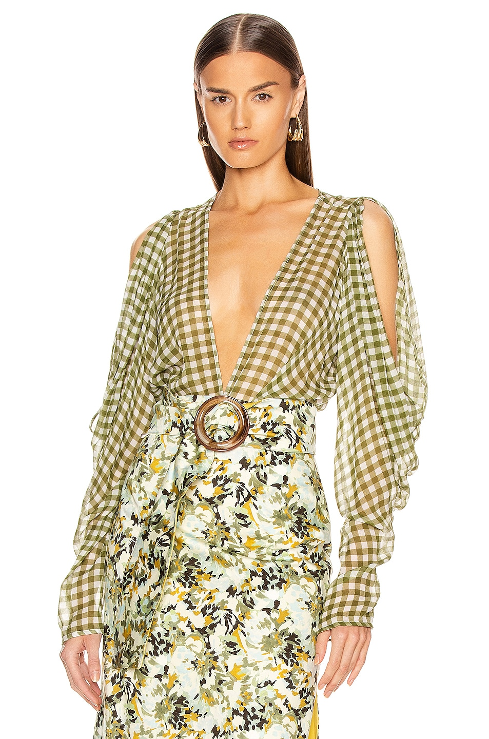 Image 1 of SILVIA TCHERASSI Hoshi Blouse in Olive Gingham