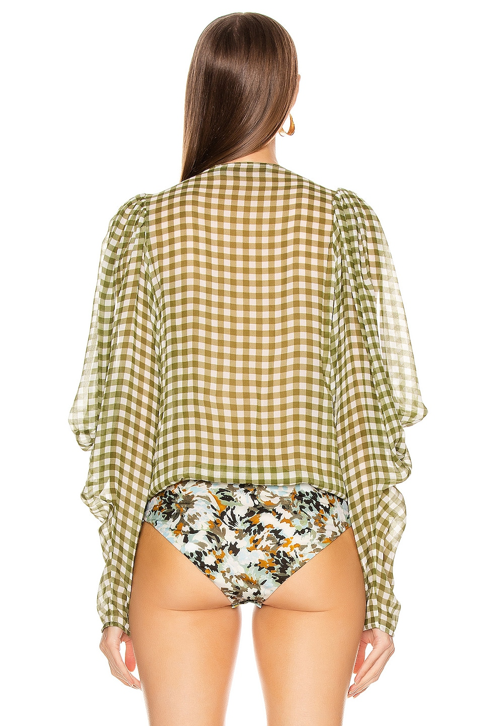 Image 4 of SILVIA TCHERASSI Hoshi Blouse in Olive Gingham