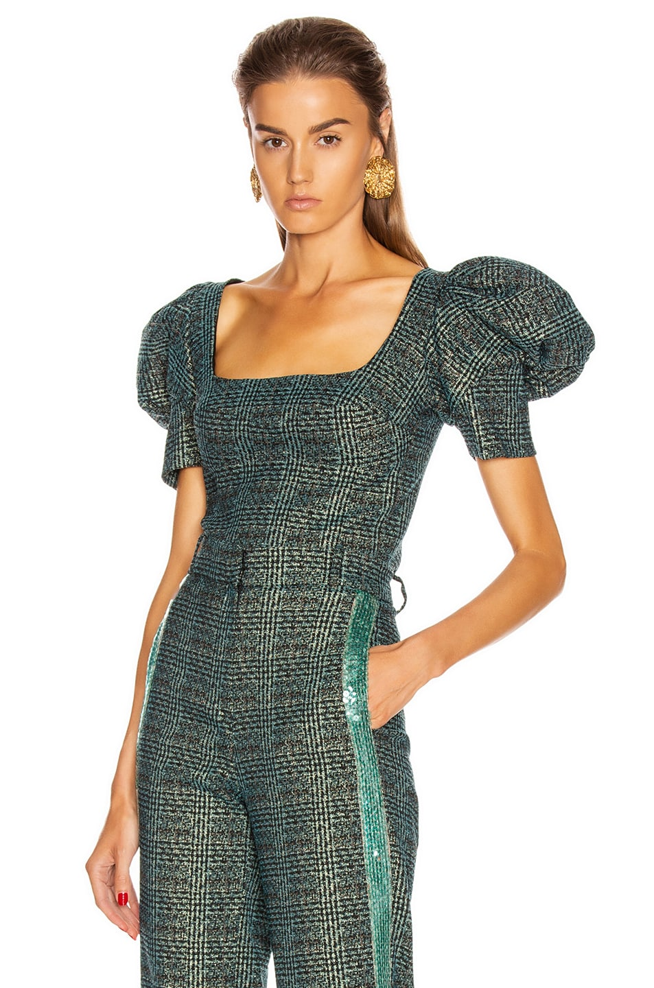 Image 1 of SILVIA TCHERASSI Darly Top in Teal Plaid