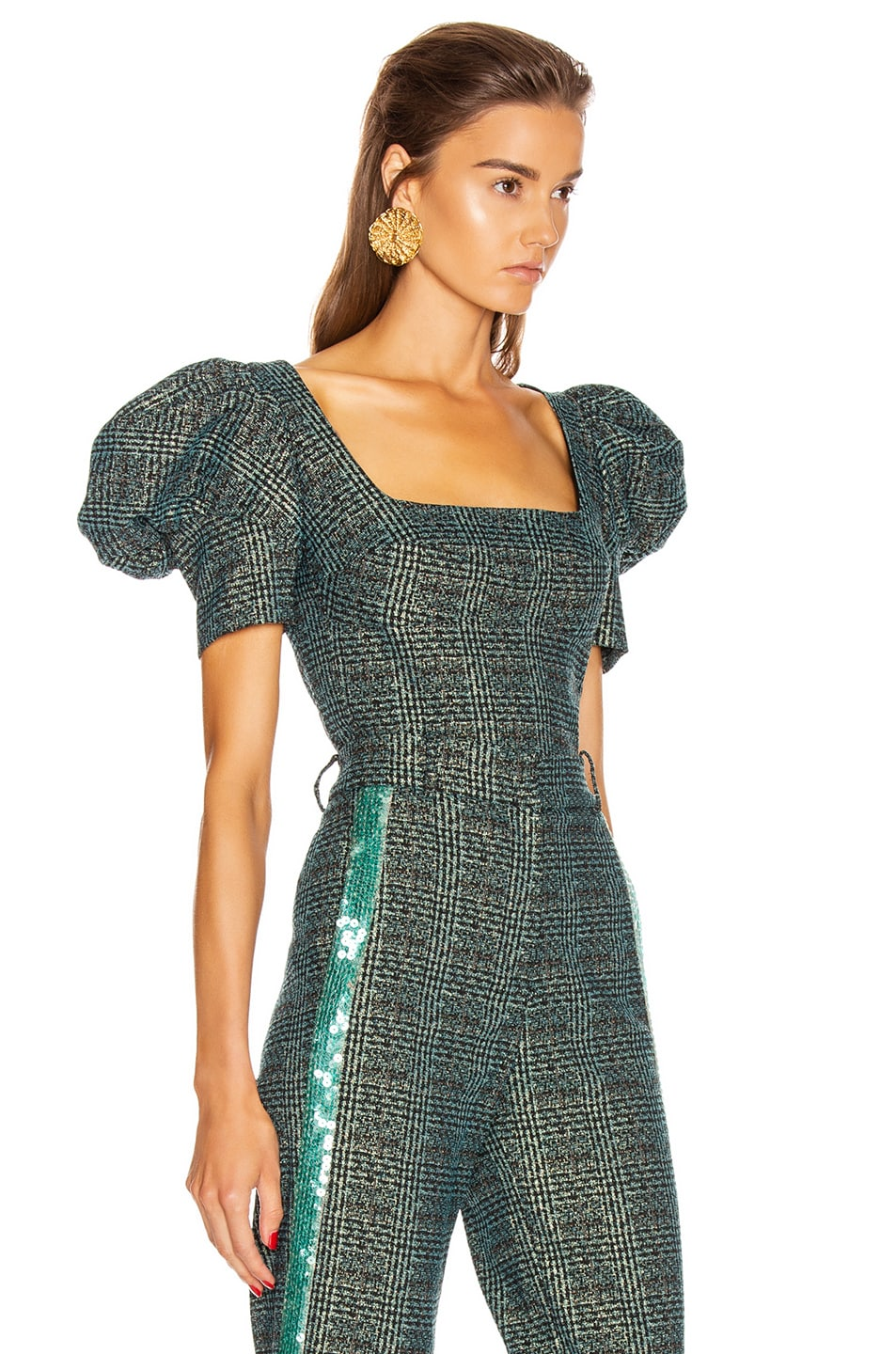 Image 2 of SILVIA TCHERASSI Darly Top in Teal Plaid