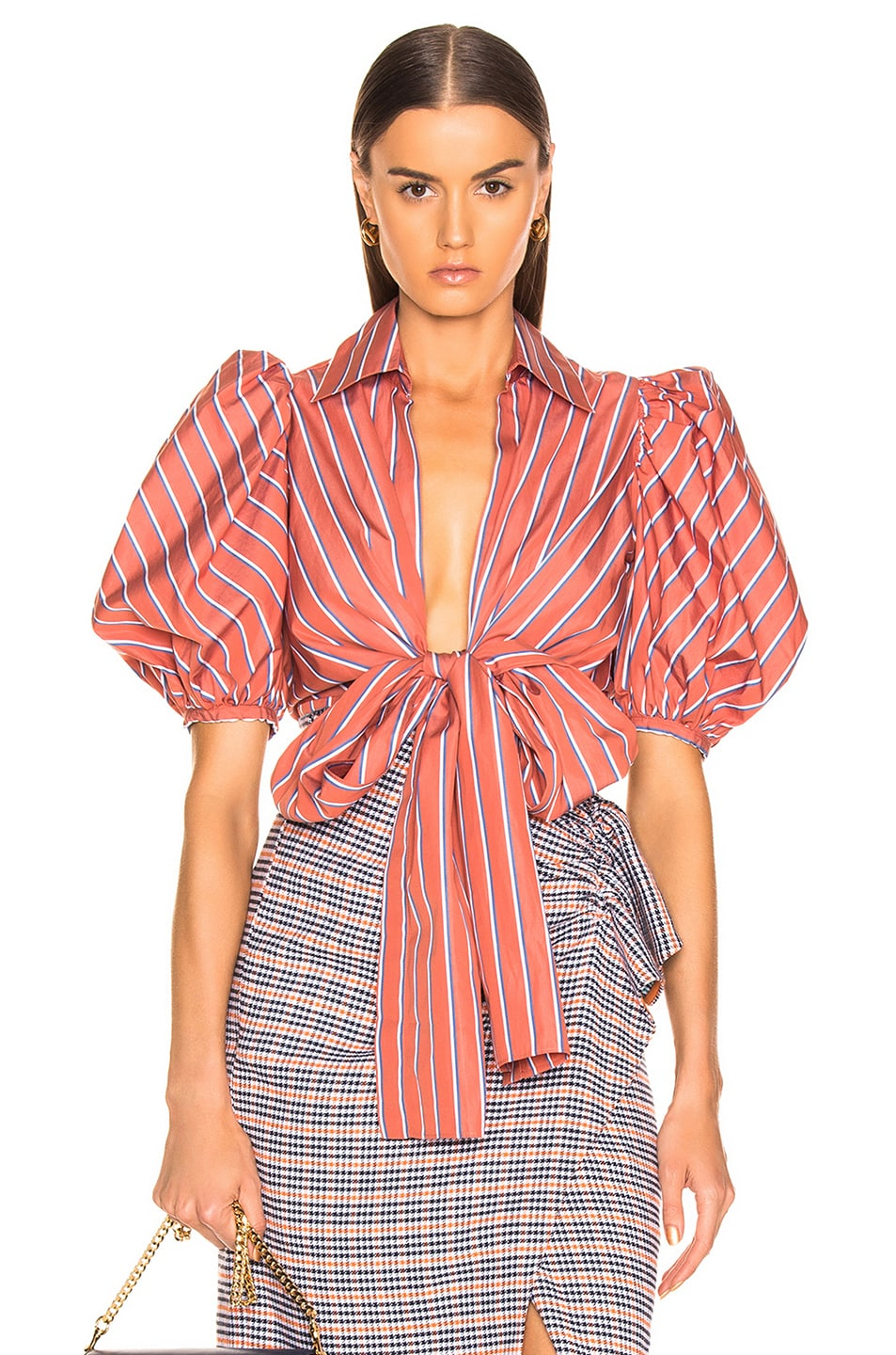Image 1 of SILVIA TCHERASSI Primula Blouse in Coral Stripes