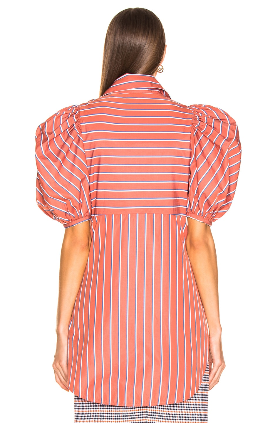 Image 3 of SILVIA TCHERASSI Primula Blouse in Coral Stripes