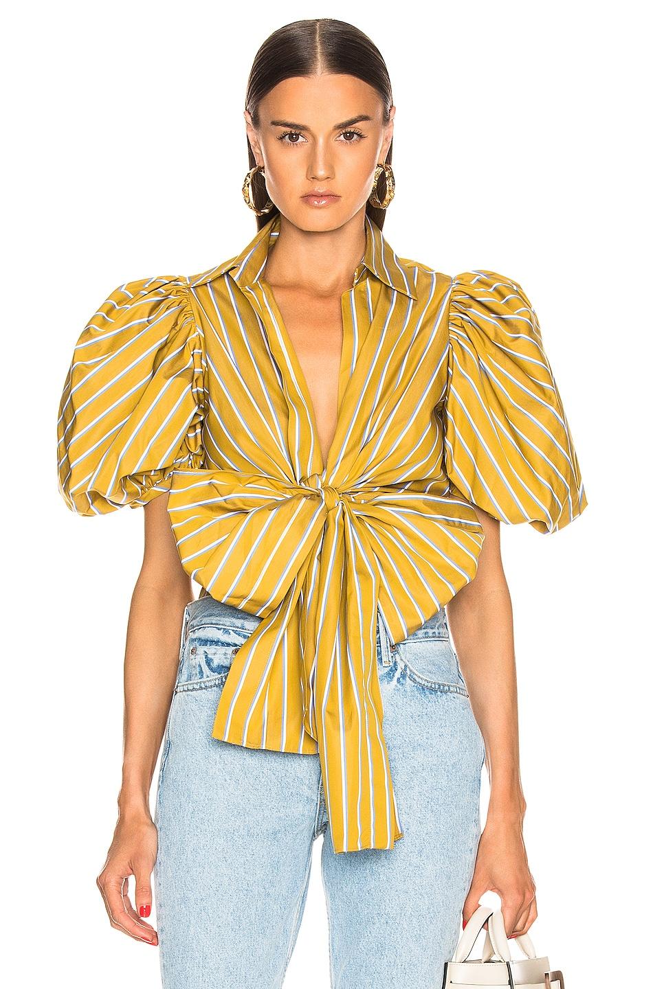 Image 1 of SILVIA TCHERASSI Primula Blouse in Lemon Stripes