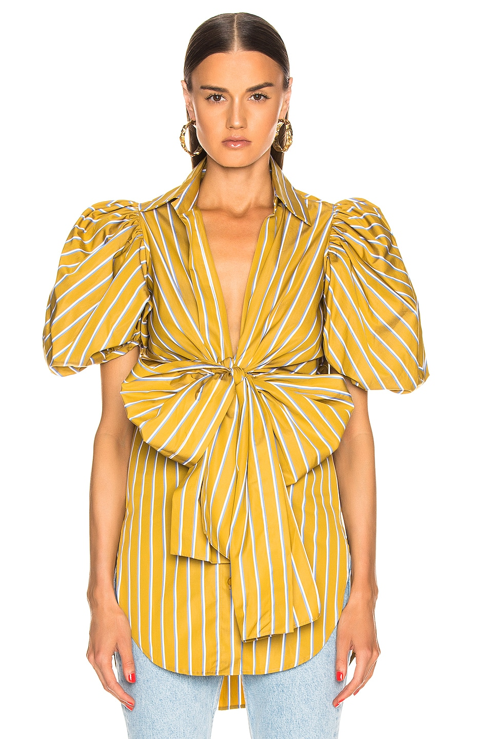 Image 2 of SILVIA TCHERASSI Primula Blouse in Lemon Stripes