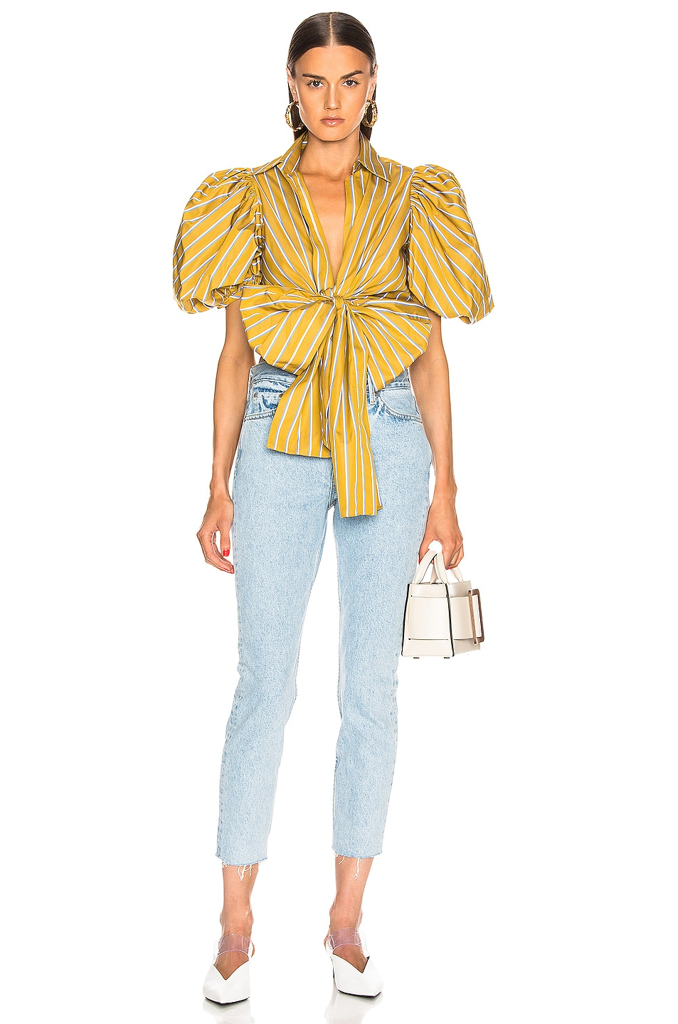 Image 5 of SILVIA TCHERASSI Primula Blouse in Lemon Stripes