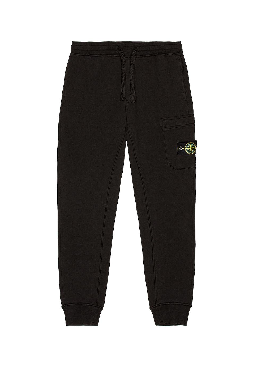 Image 1 of Stone Island Fleece Cargo Pants in Black
