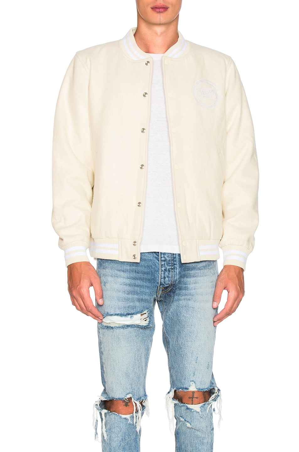 a94f506e23a5 Image 2 of Stussy Stock Varsity Jacket in Off White