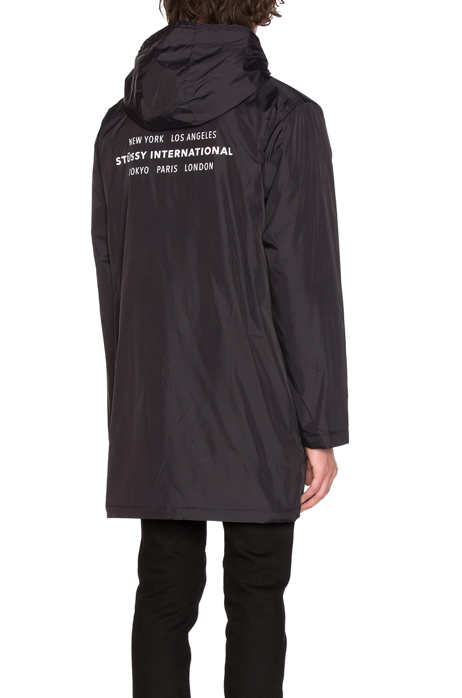 Image 1 of Stussy Insulated Long Hooded Coach Jacket in Black