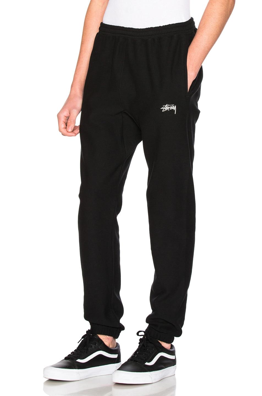091924ac Image 1 of Stussy Stock Fleece Pant in Black
