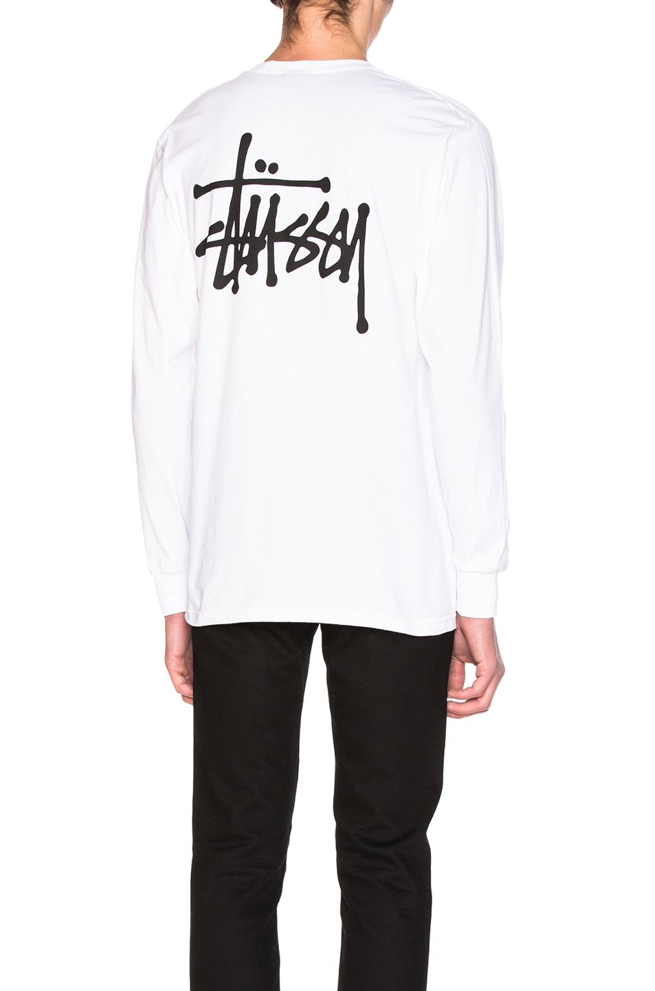 Image 1 of Stussy Basic Long Sleeve Tee in White