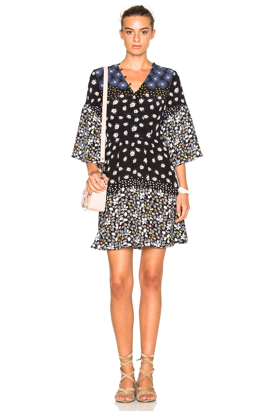 Image 1 of SUNO Button Front Fit & Flare Dress in Floral Dot