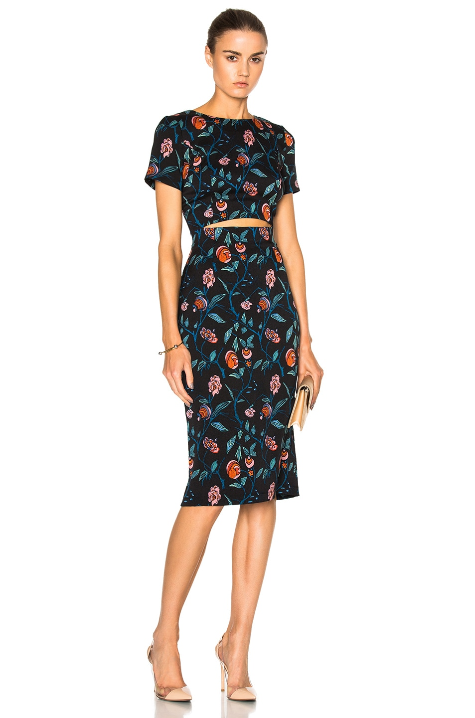 Image 1 of SUNO Cut Out Dress in Floral Black