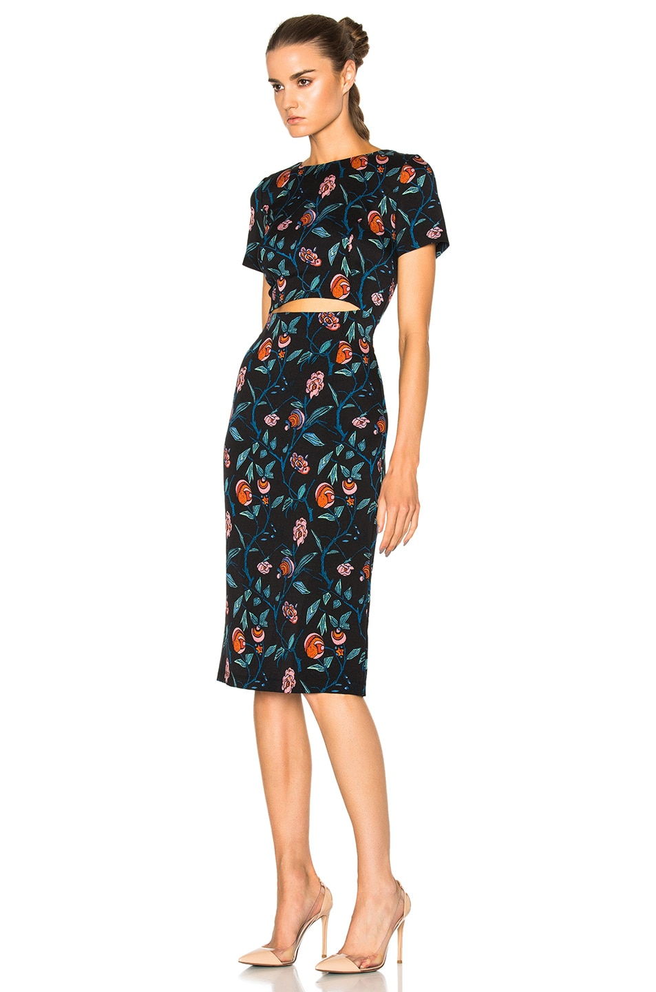Image 2 of SUNO Cut Out Dress in Floral Black