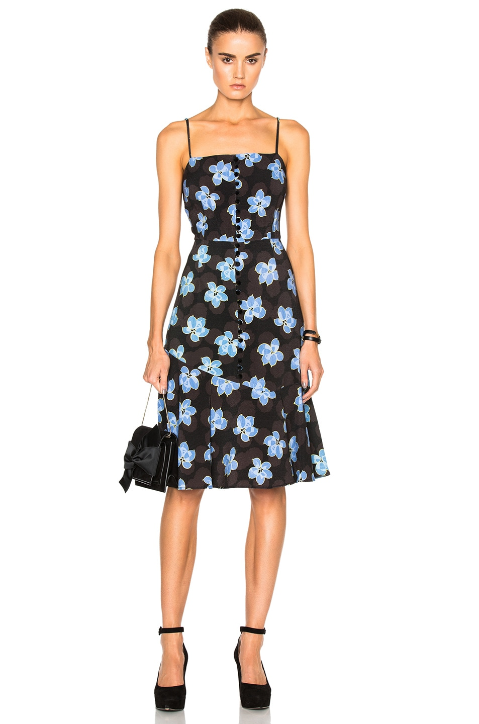 Image 1 of SUNO Flare Hem Tank Dress in Floral Blue