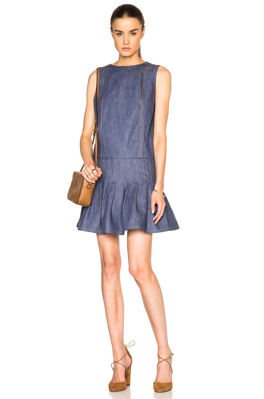 2f8602e7116 Image of suno denim pleated dress in denim jpg 953x1440 Pleated denim dress
