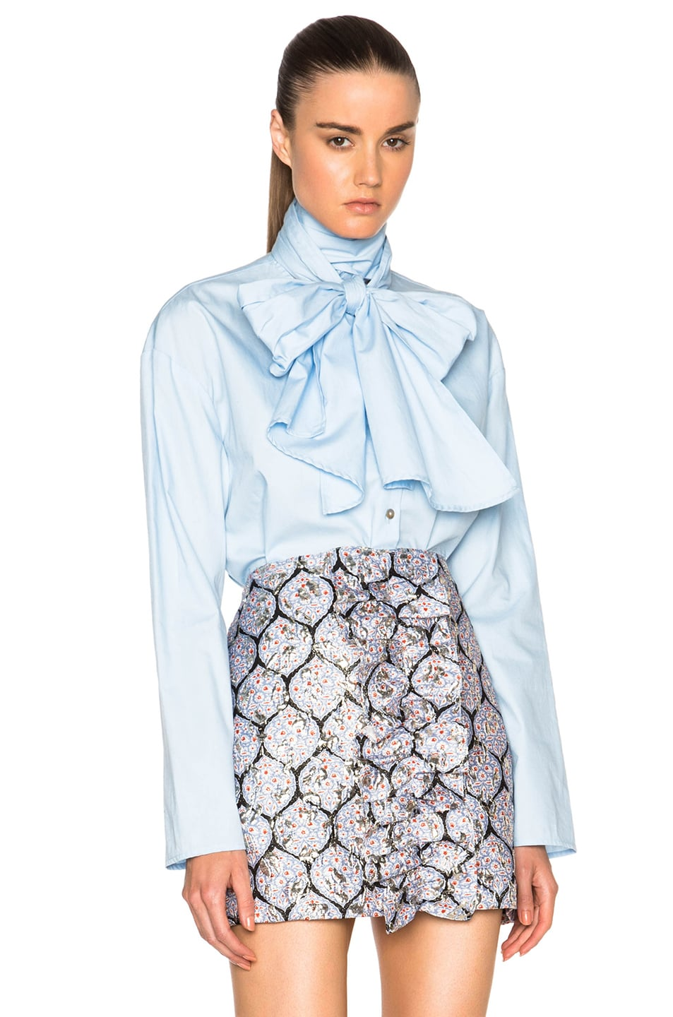 Image 1 of SUNO Scarf Tie Top in Sky Blue