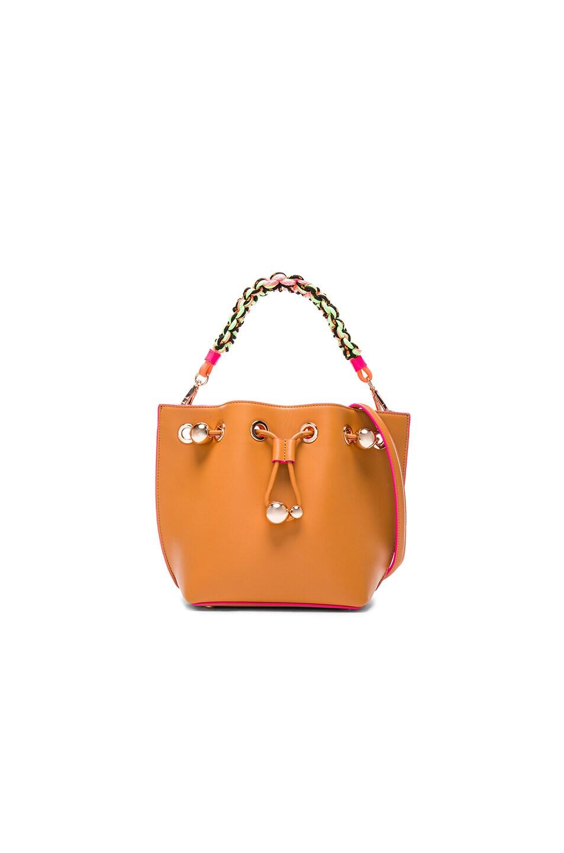 Image 1 of Sophia Webster Romy Mini Bucket Bag in Tan & Magenta