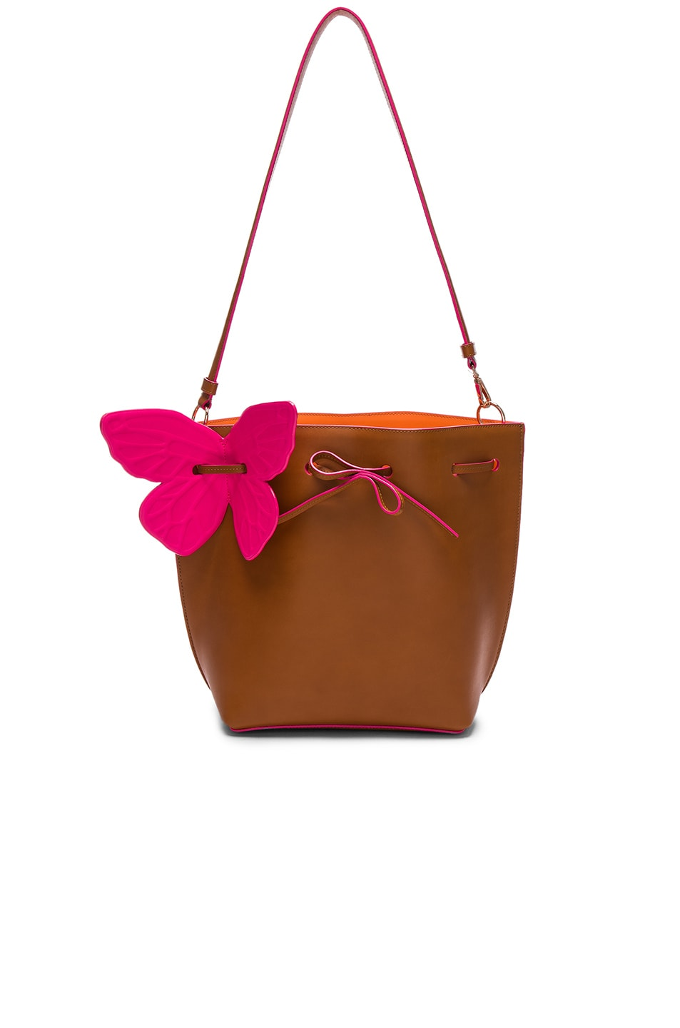 Image 1 of Sophia Webster Remi Butterfly Bucket Bag in Tan & Magenta